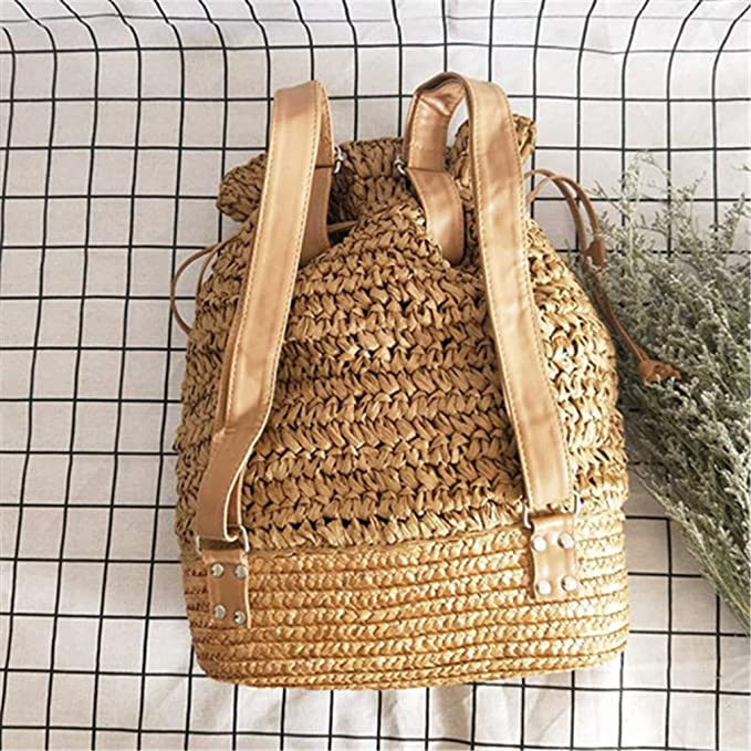 Amazon.com: Beach Bag Woven Straw Drawstring Backpacks Beige: Sports & Outdoors