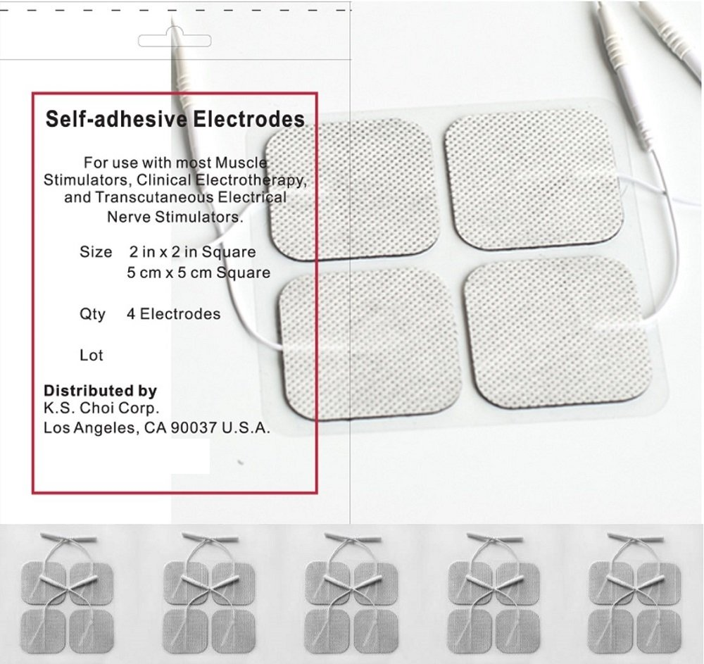Acuzone Premium TENS/EMS Reusable Self Stick Gel Carbon Electrodes. 5 Packs of 4 electrode pads, total of 20, 2 inches X 2 inches