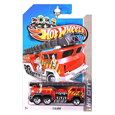 Hot Wheels 2013 HW City 5 Alarm Fire Engine Truck Ladder Red: Toys & Games