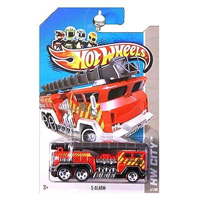 Hot Wheels 2013 HW City 5 Alarm Fire Engine Truck Ladder Red: Toys & Games [5Bkhe0703095]
