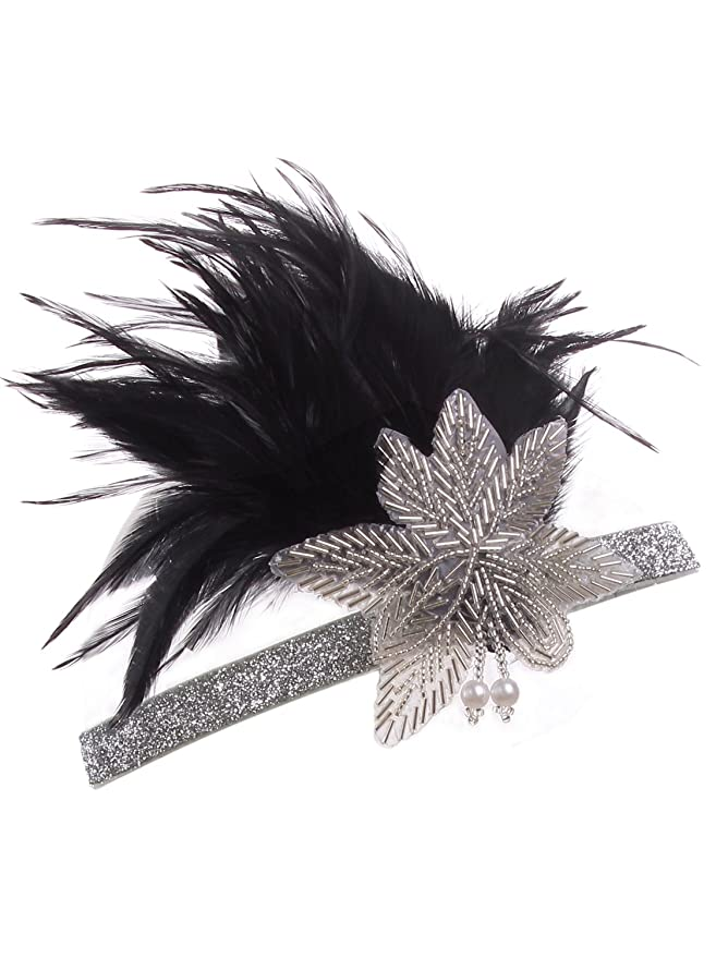 1920s Accessories | Great Gatsby Accessories Guide  Black Silver Headpiece Flapper Headband 1920s $12.99 AT vintagedancer.com