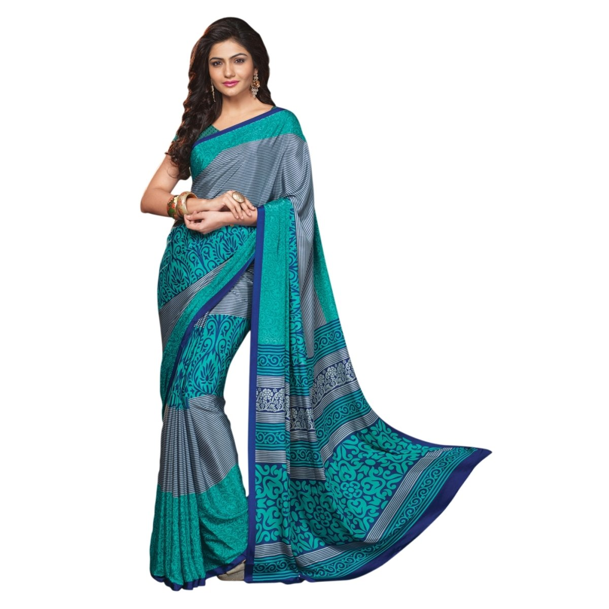 Triveni Women's Indian Grey Printed Crape Saree Sari Triveni Sarees TSRD1497