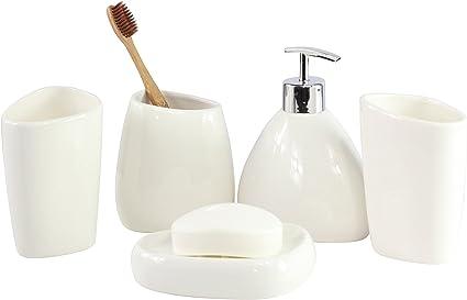 cultuswares ensemble de luxueux accessoires de salle de bain en ceramique blanche porte savon distributeur de savon porte brosses a dents lot de 5