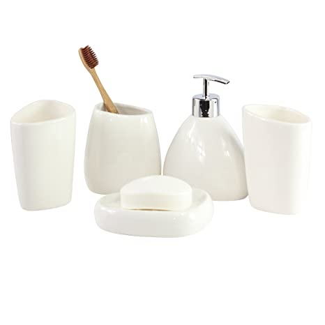 Accessori Bagno In Ceramica Bianca.Goldbearuk Elegante Set Di Accessori Da Bagno In Ceramica