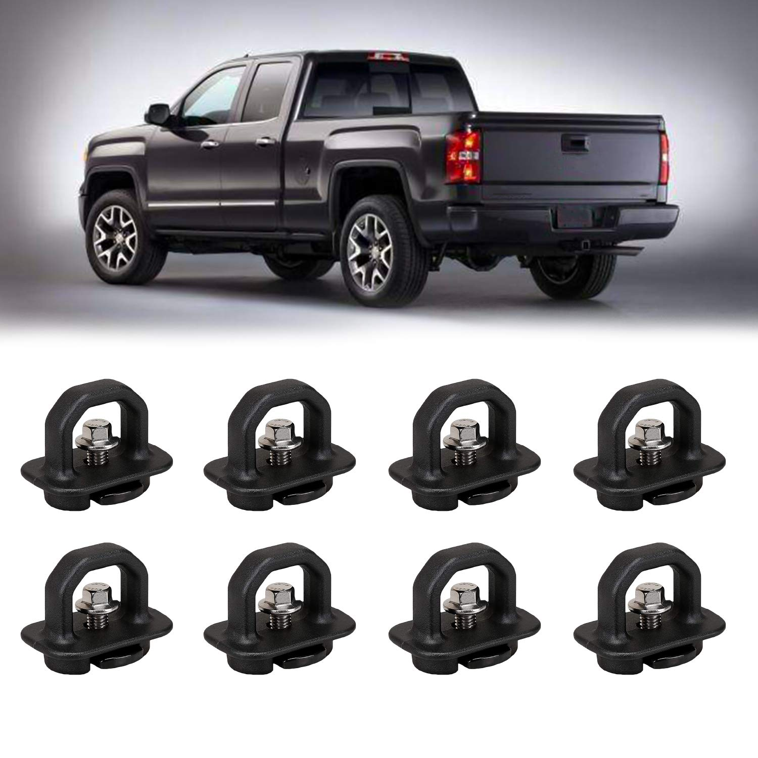 8 Pcs Tie Down Anchor Truck Bed Anchors, Side Wall Hook Rings for 07-18 Chevy Silverado/GMC Sierra,15-18 Chevy Colorado/GMC Canyon Pickup (4 Pack-Truck Bed Tie Downs Pickup Anchors)