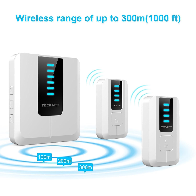 2 Sender 1 Empf/änger mit 300m Reichweite TECKNET Kabellose T/ürklingel 52 Melodien und LED Anzeige