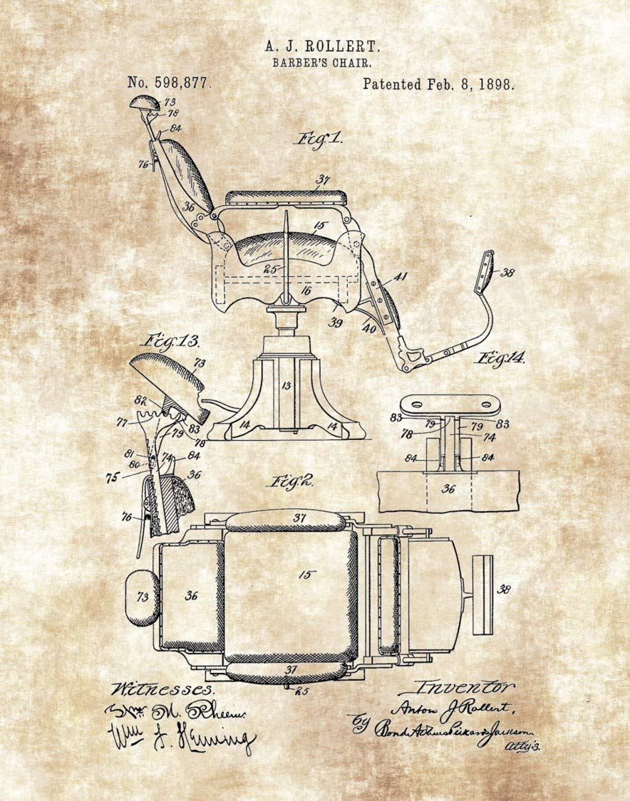 Barber Shop Decor Barbershop Chair Print Great Gift for Barbers and Hair Stylists 11 x 14 Unframed Patent Print