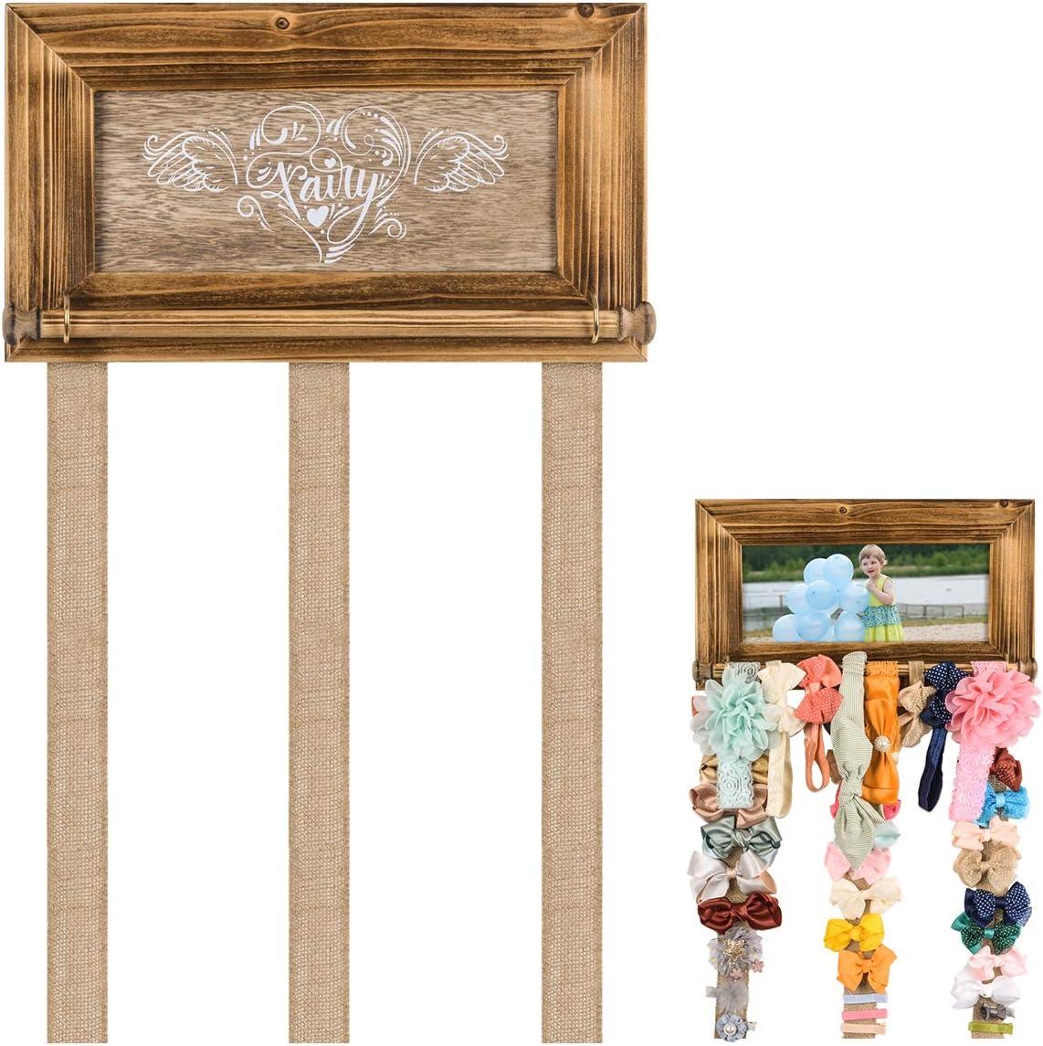 Organizador contenedor de lazos para el cabello con marco de madera para la foto,diadema para el pelo,Pinzas de cabello percha para la pared, exhibición de almacenamiento de accesorios para el cabello