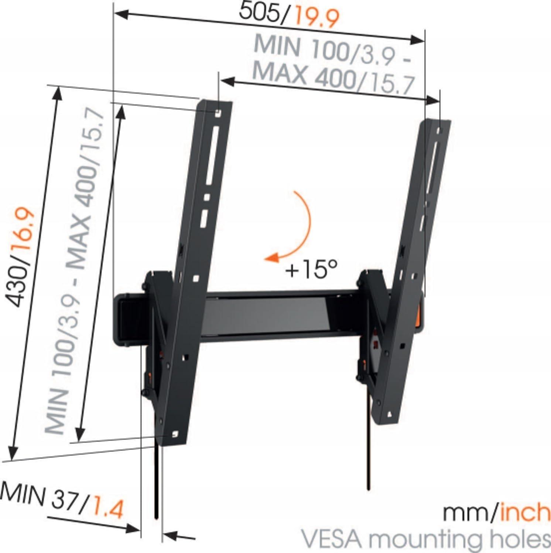 Inclinable M/áx 30 kg y con sistema VESA m/áx Vogels WALL 3215 400x400 Soporte de pared para TV 32-55 Pulgadas