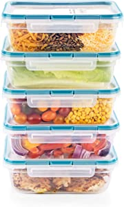 Snapware Total Solution Plastic Meal Prep and Food Storage 10-Piece Set (8.5-Cup Rectangular Containers, BPA Free, Leakproof Lids, Microwave, Dishwasher and Freezer Safe), Clear