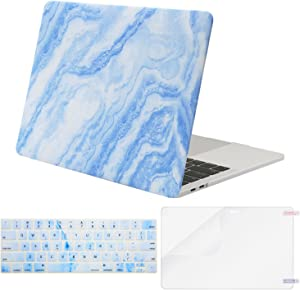 MOSISO MacBook Pro 13 inch Case 2019 2018 2017 2016 Release A2159 A1989 A1706 A1708, Plastic Pattern Hard Shell Case&Keyboard Cover&Screen Protector Compatible with MacBook Pro 13, White Blue Marble