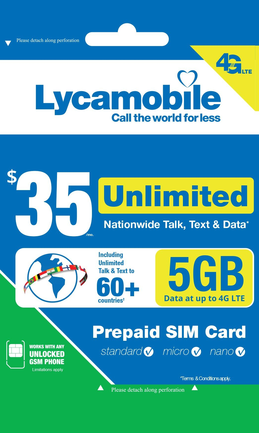 Lycamobile $35 Plan 1st Month Included SIM Card is Triple Cut Unlimited Natl Talk & Text to US and 60+ Countries 6GB Of 4G LTE by Spartan Technologies