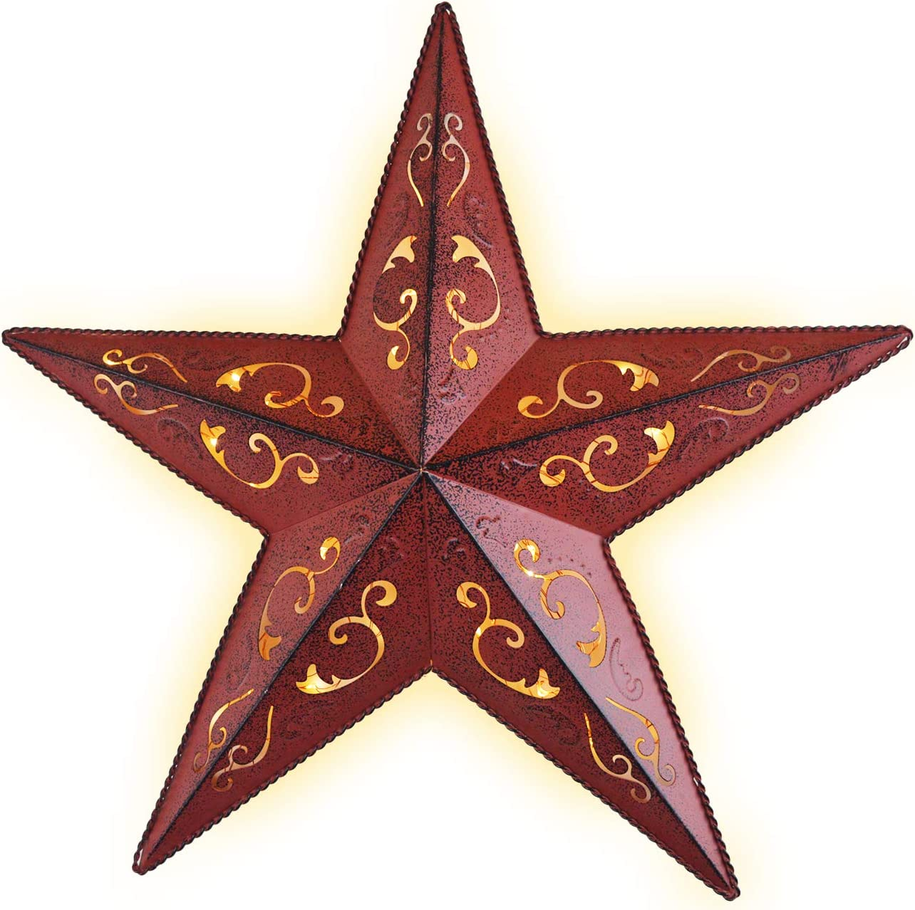 LIGHTED RED METAL LACY BARN STAR 18