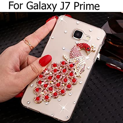 new product b22ae e6d92 KC Luxury Diamond Studs Gold Peacock Case Soft Transparent Back Cover for  Samsung Galaxy J7 Prime (Red)