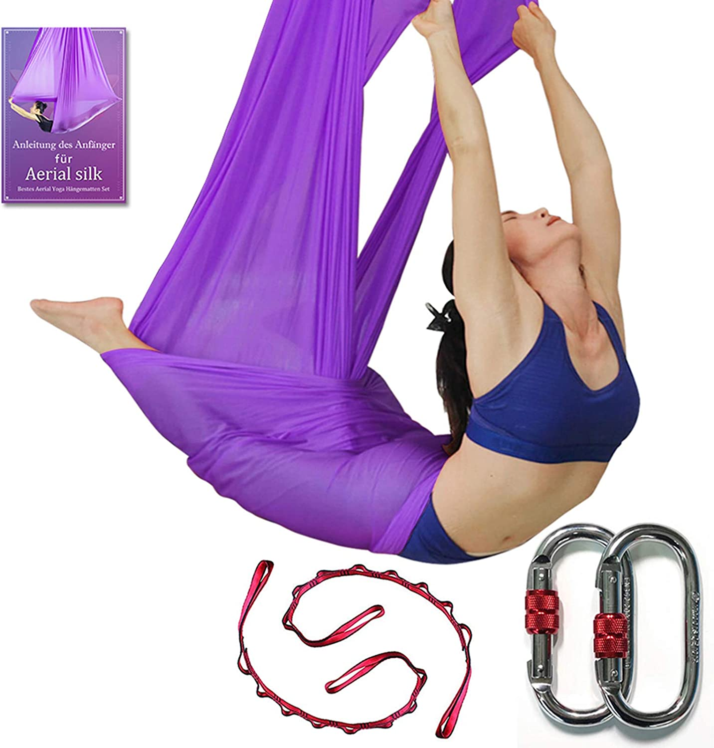 DASKING Deluxe 5m/Set Yoga Swing Aerial Yoga Hammock kit with Daisy Chains O-Ring, Fabric & Guide