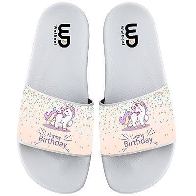 Birthday Unicorn Unisex Anti-skidding Open Toe Slide Sandal Flip Flops Sandals Comfort lightweight