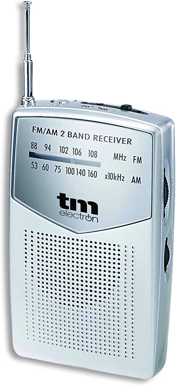 TM Electron TMRAD024S - Radio analógica portátil FM/Am, Color Plata: Amazon.es: Electrónica