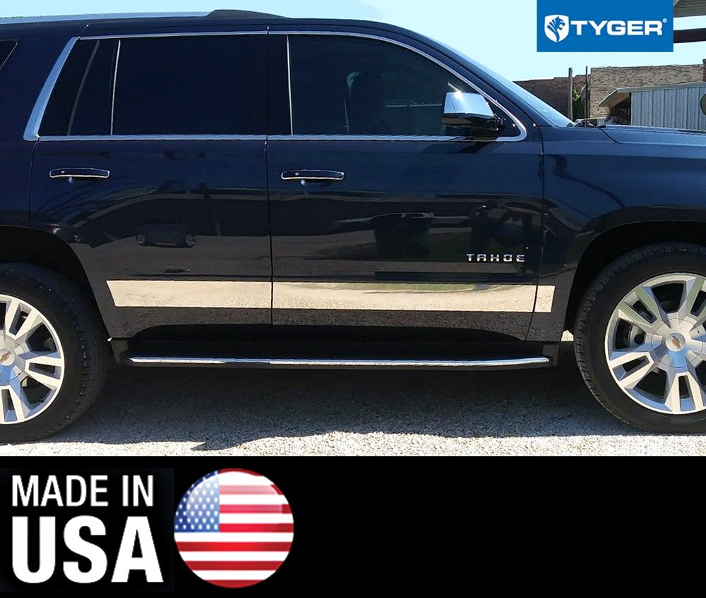 Tyger Chevy Rocker Panel Trim Works with 2015-2018 Tahoe//Yukon Below Body Side Molding 4 1//2 Wide 8PC Made in USA