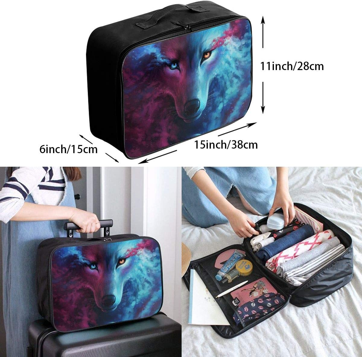 Where Light And Dark Meet Galaxy Wolf Travel Carry-on Luggage Weekender Bag Overnight Tote Flight Duffel In Trolley Handle