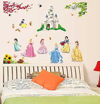 Ufengke Beautiful Princess Lovely Little Dwarfs And Cartoon Castle Wall  Decals, Childrenu0027s Room Nursery Removable