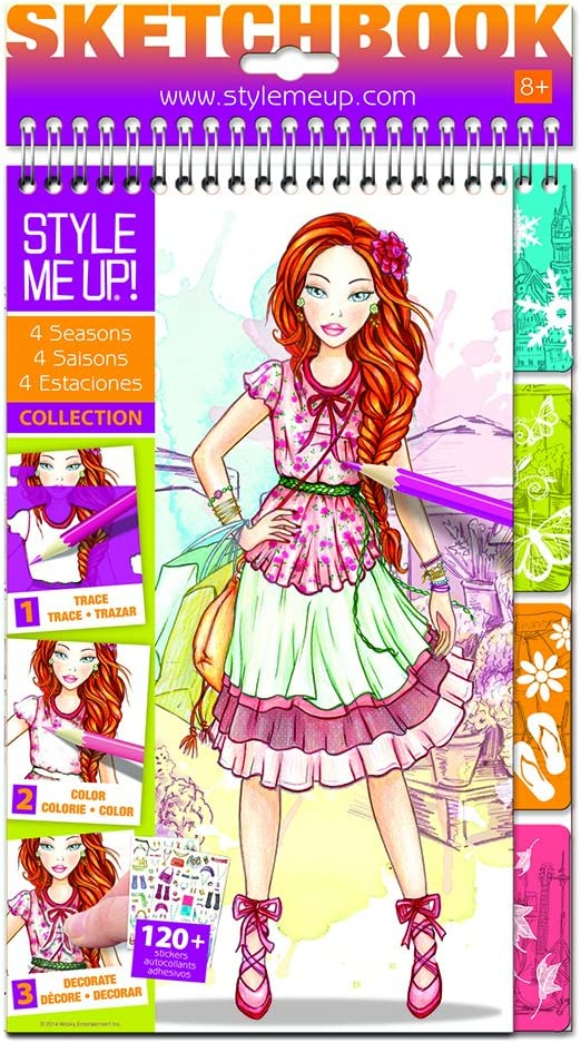 Amazon Com Style Me Up Fashion Design Coloring Sketch Book For Girls And Boys Great Present Gift Sticker Book With Diy Tools 4 Seasons Collection Toys Games