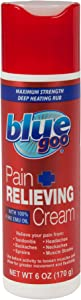 BLUE GOO Pain Relieving Cream, 6 Ounce, Maximum Strength, Deep Heating Rub for Back/Neck Pain, Headache, Muscle/Joint Pain, Arthritis, Sprains, Bursitis Strains, Made with 100% Pure EMU Oil