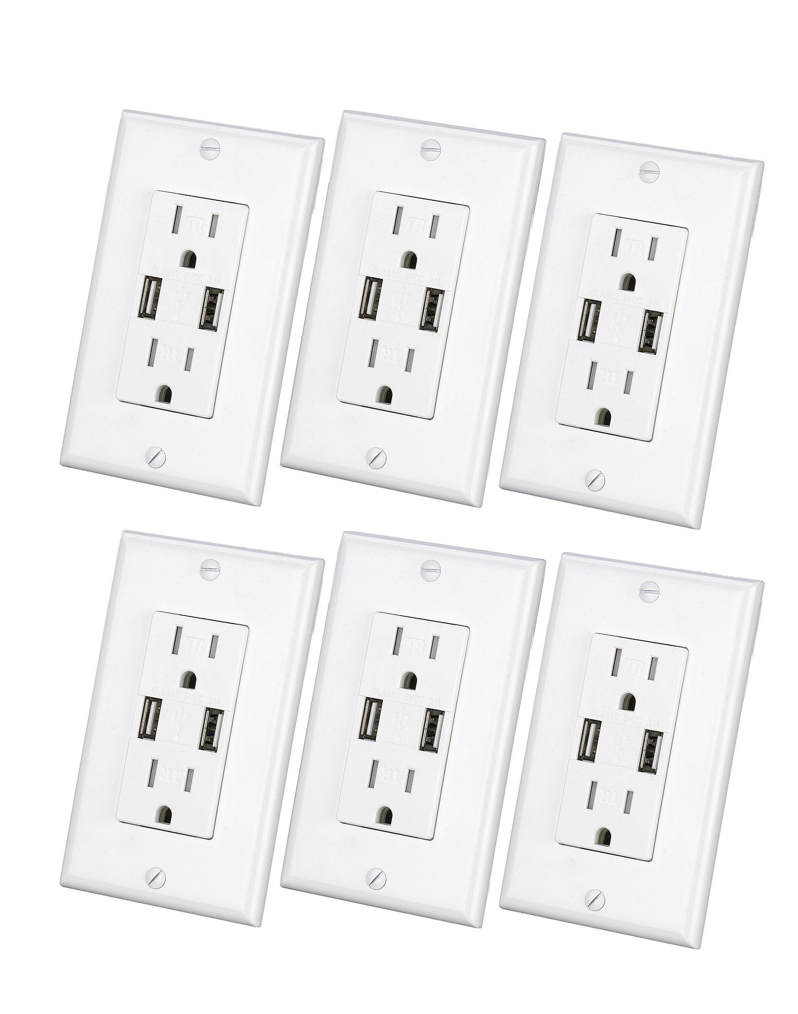 USB Charger Wall Outlet Dual High Speed Duplex Receptacle 15 Amp, Smart 4.8A Quick Charging Capability, Tamper Resistant Outlet Wall plate Included UL Listed White MICMI C48 (4.8A USB outlet 6pack)