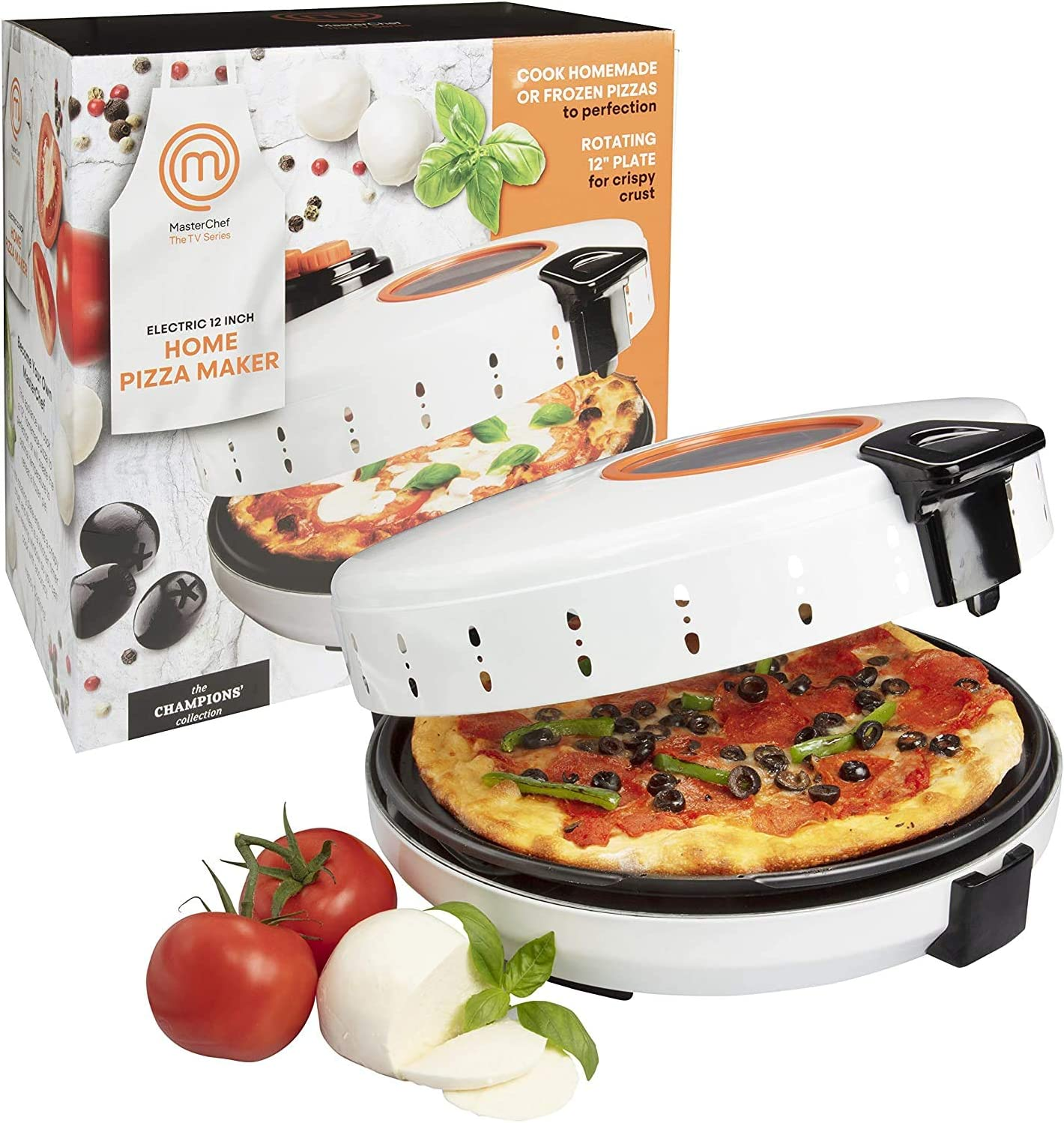 MasterChef Pizza Maker- Electric Rotating 12 Inch Non-stick Calzone Cooker - Countertop Pizza Pie and Quesadilla Oven w Adjustable Temperature Control (Renewed)