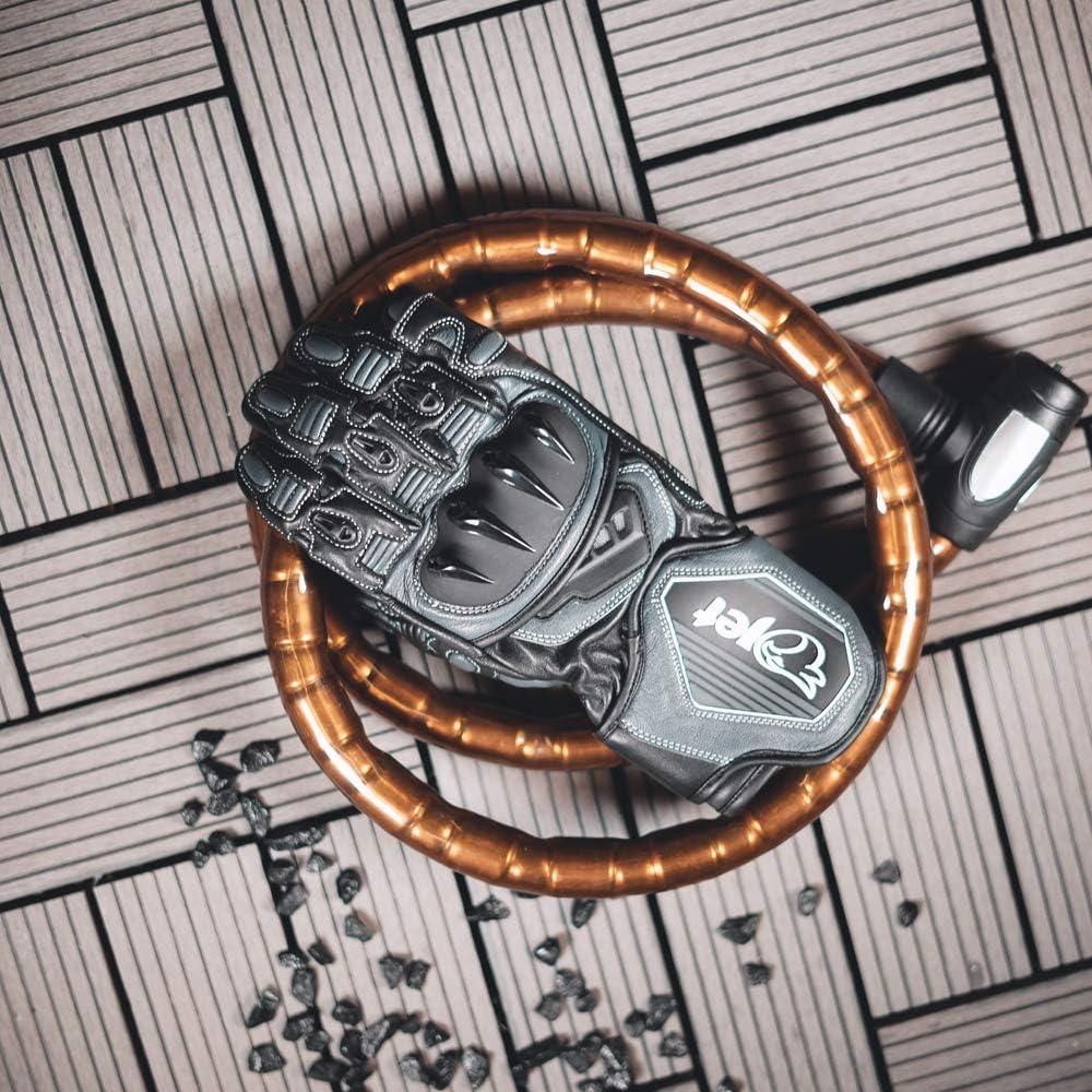 JET Motorcycle Motorbike Gloves Premium Full Leather Gauntlet Race Hard Knuckle Gloves XL, Red