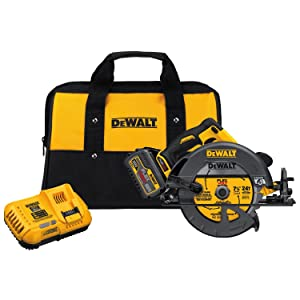 "DEWALT DCS575T1 FLEXVOLT 60V MAX Lithium-Ion Brushless 7 1/4"" Circular Saw w/Brake Kit (includes Fast Charger)"