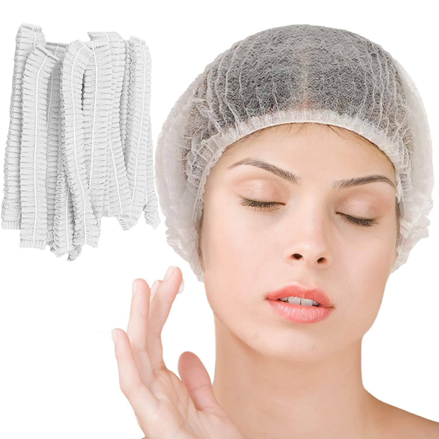 Smilco Disposable Bouffant Caps Hair Net Cap 100 Pcs 21inches Elastic Mob Caps for Food Service, Medical, Sleeping Head Cover, Factory Worker, Beauty