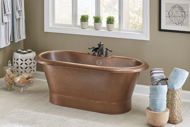 Sinkology ST101-60HA-3 Thales 5\' Copper Freestanding Bathtub with ...