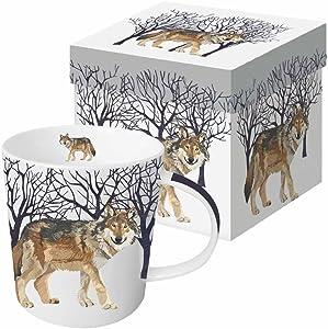 Paperproducts Design 28168 Gift Boxed Porcelain Mug, 13.5 oz, Winter Woods Wolf, Multicolor