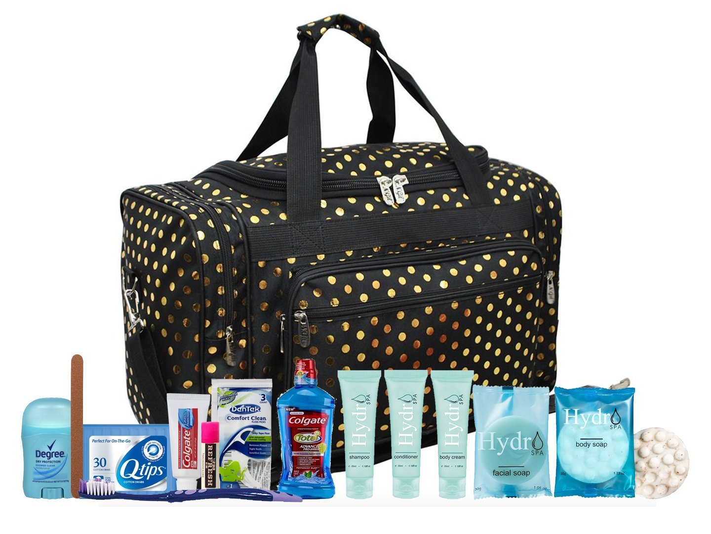 88676ea338 Amazon.com : Maternity Hospital Labor Duffle Bag, Pre-packed Toiletry Bag - Polka  Dots Gold Black : Beauty