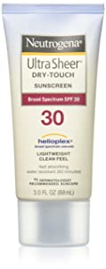Neutrogena Ultra Sheer Dry-Touch Water Resistant and Non-Greasy Sunscreen Lotion with Broad Spectrum SPF 30, 3 fl. oz (Pack of 3)