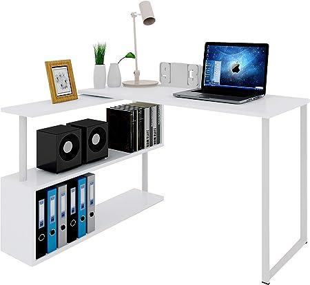 Eckschreibtisch Winkelschreibtisch Computertisch Schreibtisch Tisch Büro weiß