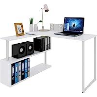 WOLTU #1195 Table de Bureau en MDF et Acier,Table de Travail PC Table d'ordinateur avec étagères 120x100x74cm,2 Couleurs