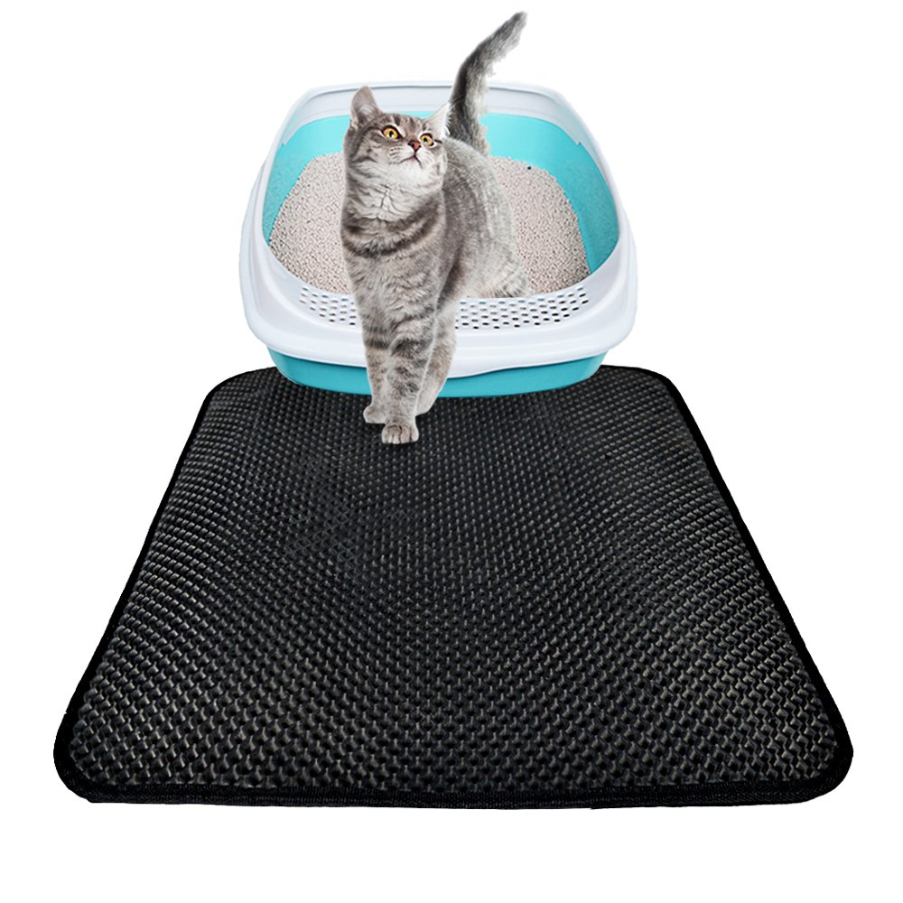 """Cat Litter Mat Litter Trapper Box Mat with Urine/Waterproof Layer and Honeycomb Double-Layer Design, Soft, Floor/Carpet Protection and Easy Clean, Large (55"""" X 70"""") Large (55"""" X 70"""") Cideros"""
