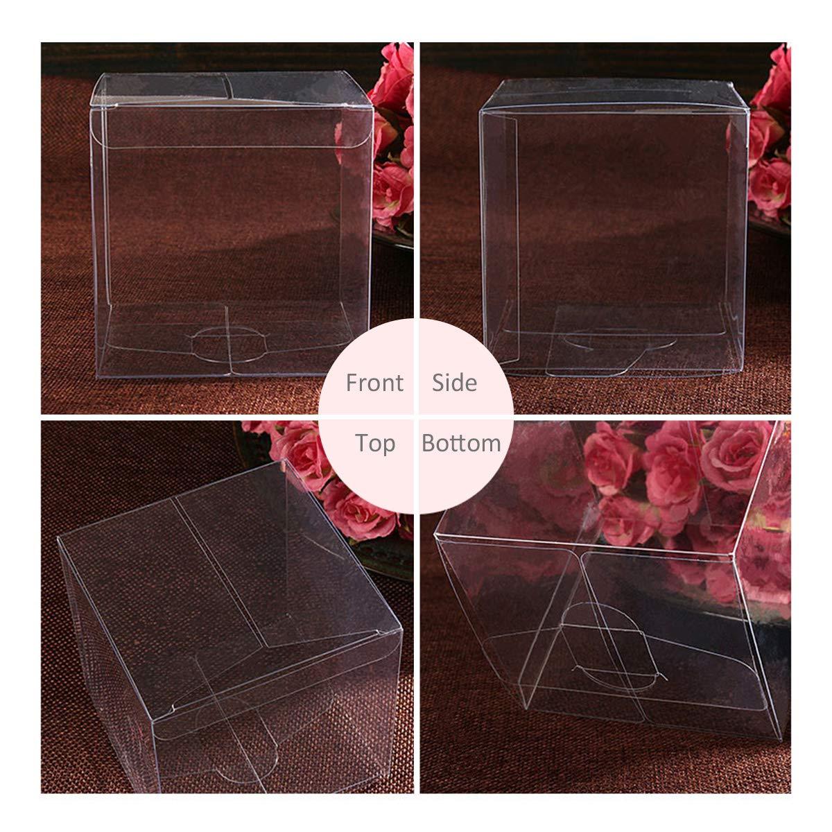 BESTONZON 25 st/ücke 4x4x4 cm Durchsichtigen Kunststoff PVC Verpackung Box Transparente Candy Apple Box f/ür Geschenk Hochzeit