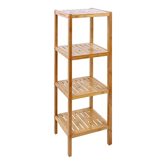 Songmics 4 Tier Bamboo Bathroom Storage Shelves Rack Display Stand Shelf Unit 98 Cm BCB54Y