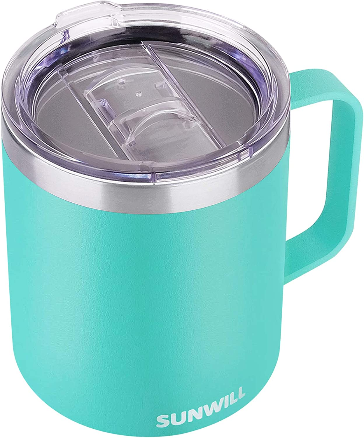 SUNWILL 14 oz Coffee Mug, Vacuum Insulated Camping Mug with Lid, Double Wall Stainless Steel Travel Tumbler Cup, Coffee Thermos Outdoor, Powder Coated Teal