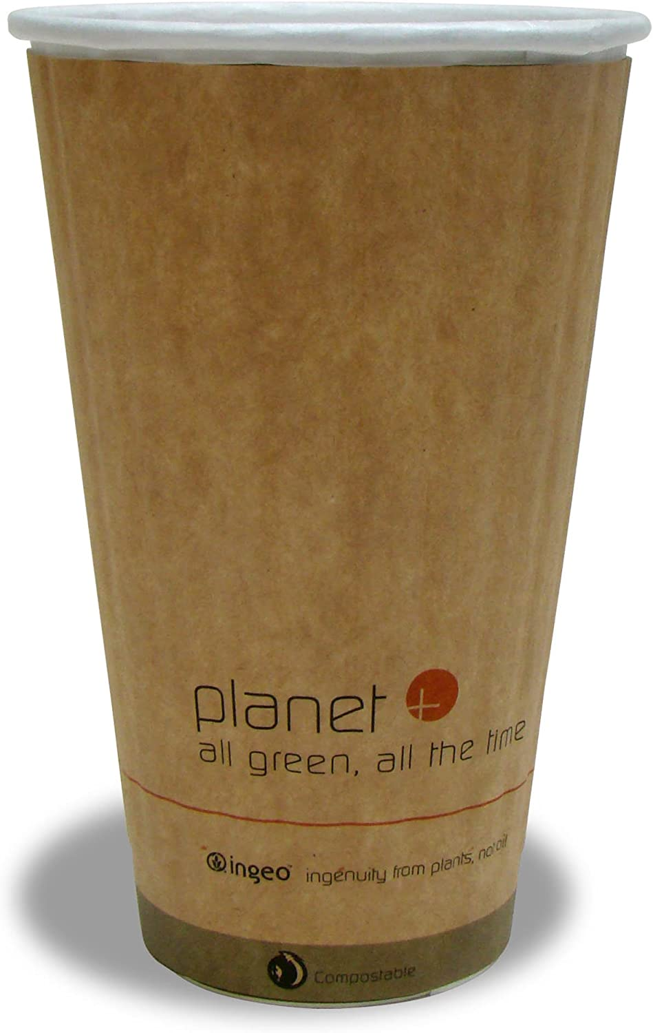 Planet+ 100% Compostable PLA Laminated Double-Wall Insulated Hot Cup, 16-Ounce, 600-Count Case