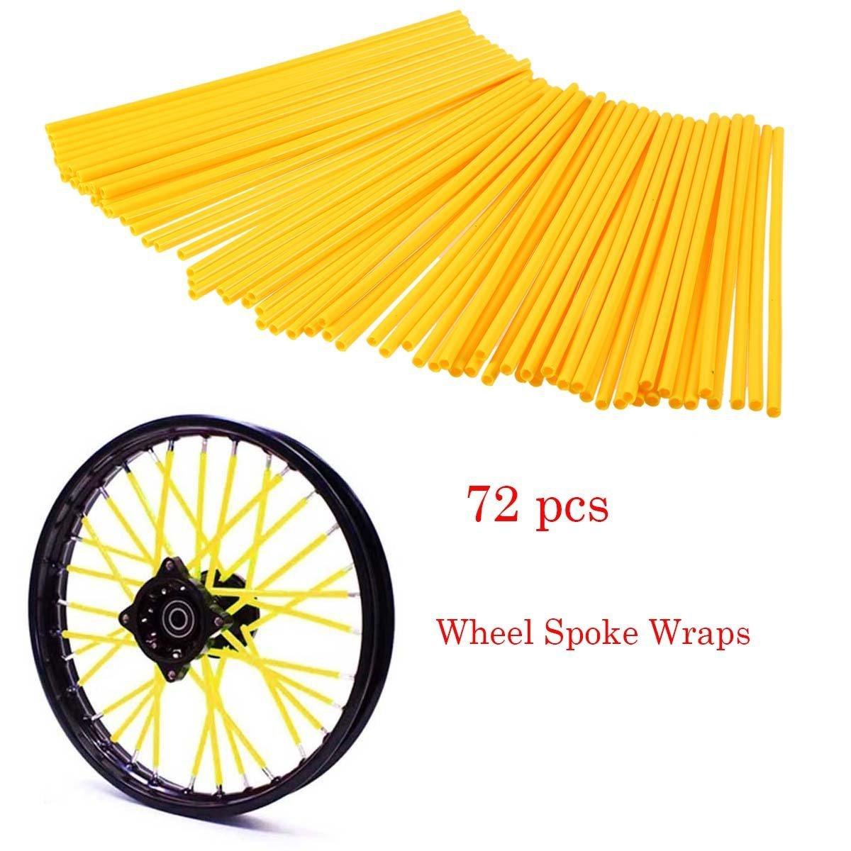 POSSBAY 72pcs Wheel Spoke Skins Wraps Coat Covers for Motorcycle Street Bike Bicycle