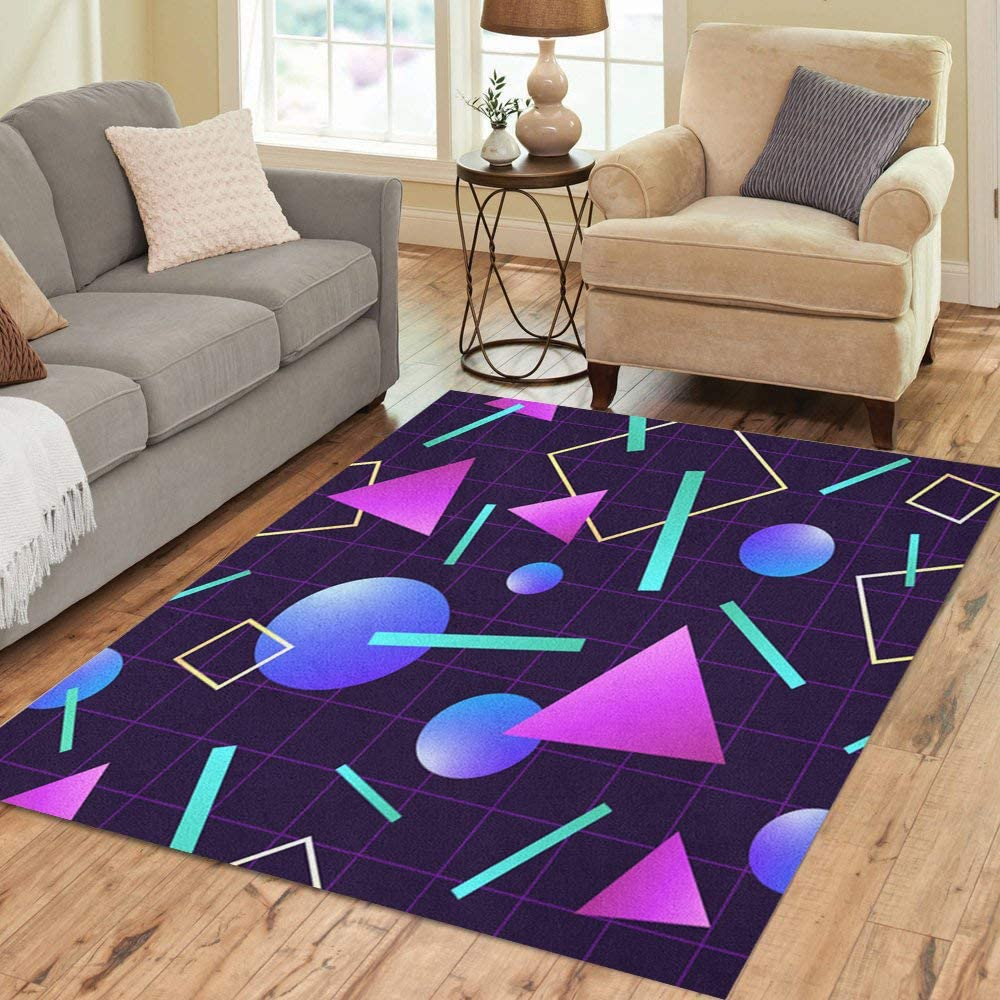 Pinbeam Area Rug Vaporwave 80 Pattern Retro 1980s Geometric Neon Party Home Decor Floor Rug 3 X 5 Carpet Kitchen Dining