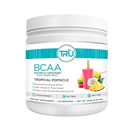 TRU BCAA, Plant Based Branched Chain Amino Acids, Vegan Friendly, Zero Calories, No artificials sweeteners or Dyes, Improve Fat Loss, 30 Servings, Tropical Popsicle
