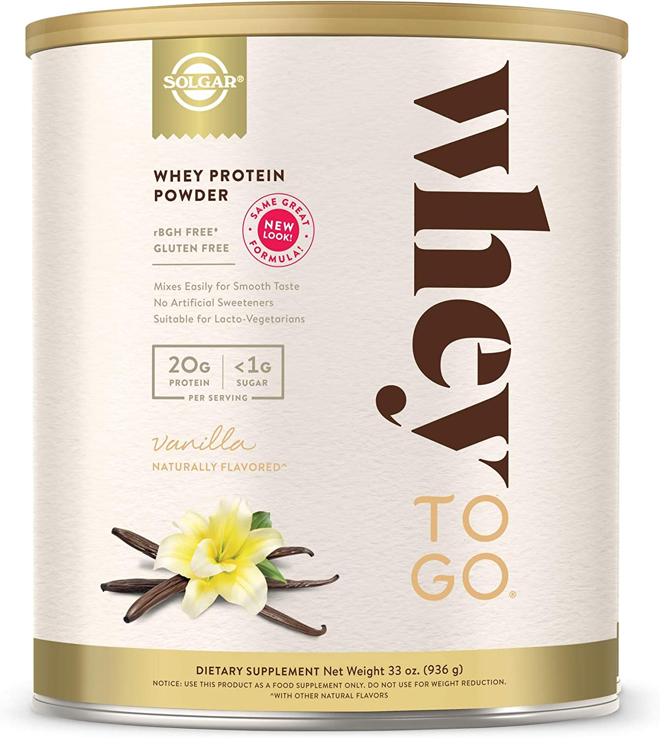 Solgar – Whey To Go Protein Powder Natural Vanilla Flavor 32 oz