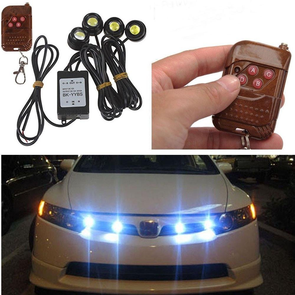 4 In 1 LED Car DRL Fog Headlight Hawkeye Bulb Kit Wireless Remote Control Emergency Flash/Strobe RGB Lights Waterproof Exterior Vehicle LED Globe Lamp Lonshell