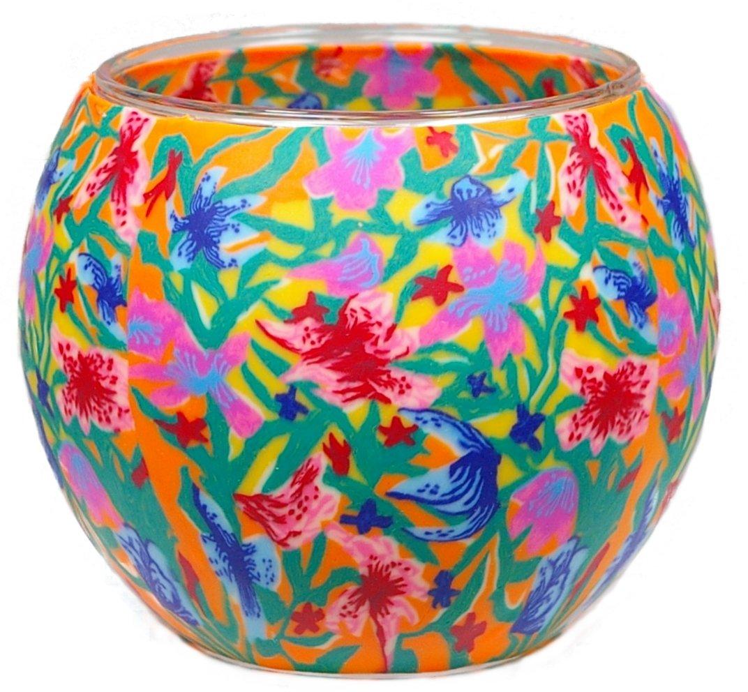 Him Estate Fiore Portacandele, Vetro, Multicolore, 11x11x9 cm CC229
