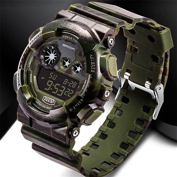 ttlife Hombre Digital Multi de camuflaje de reloj de pulsera Sanda S Schock LED Militares impermeable