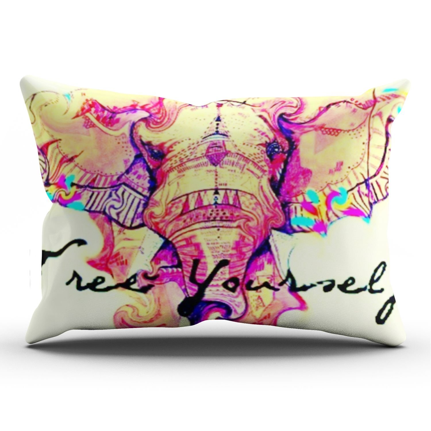 KEIBIKE Personalized Colorful Ink Pink Thai Elephant Rectangle Decorative Pillowcases Retro Zippered King Pillow Covers Cases 20x36 Inches One Sided by KEIBIKE
